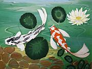 Koi Painting Posters - Koi Fish Two Poster by Gladys Toland