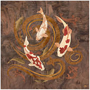Collage Mixed Media Prints - Koi Fish Wood Art Print by Vincent Doan