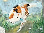 Koi Digital Art Prints - Koi Goes For A Walk Print by Lee Chambers