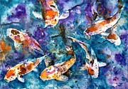 Oriental Style Paintings - Koi Impression by Zaira Dzhaubaeva