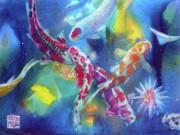 Watercolour Mixed Media Originals - Koi in a pond by Andre MEHU