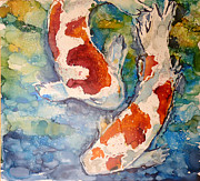 Alcohol Ink Posters - Koi in Alcohol Poster by P Maure Bausch
