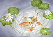Leona Jones Posters - Koi in Lily Pond Poster by Leona Jones