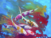 Koi Painting Posters - Koi in red algaes Poster by Andre MEHU