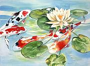 Koi Painting Originals - Koi in the Water Lilies by Ileana Carreno