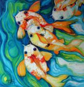 Abstract Wildlife Paintings - Koi Inny Minny Miney Moe by Marcia Baldwin