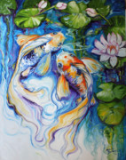Koi Painting Posters - KOI KOI and LILY Poster by Marcia Baldwin