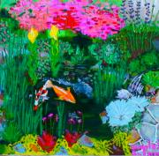 Merlot Prints - Koi Pond Print by Angela Annas