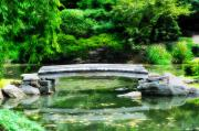 Koi Digital Art Prints - Koi Pond Bridge - Japanese Garden Print by Bill Cannon