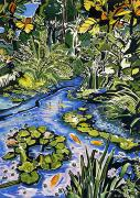 Lotus Leaves Paintings - Koi Pond by Fay Biegun - Printscapes