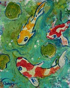 Gretzky Paintings - Koi Pond  by Paintings by Gretzky