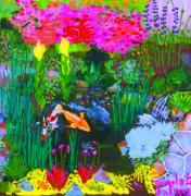 Crape Prints - Koi Pond I Print by Angela Annas