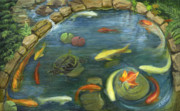 Koi Painting Posters - Koi Pond in the Garden Poster by Joyce Gibson
