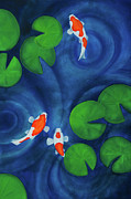 Lilly Pond Paintings - Koi Pond Part One by Lael Borduin
