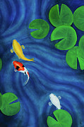 Lilly Pond Paintings - Koi Pond Part Two by Lael Borduin