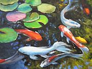 Koi Painting Framed Prints - Koi Pond Framed Print by Susan Jenkins
