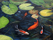 Koi Painting Posters - Koi Pond Water Lilies Poster by Christine Montague
