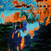 Aluminum Digital Art Originals - Koi Ride by Gini Holmes
