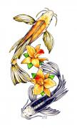 Koi Fish Drawings - Koi by Sheryl Unwin