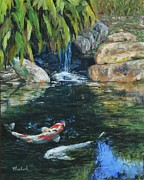 Koi Painting Posters - Koi Under the Waterfall Poster by Beth Maddox