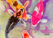 Koi Painting Posters - Kois in a Pond Poster by K Lim