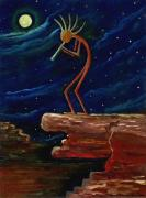 Polish American Painters Paintings - Kokopelli by Anna Folkartanna Maciejewska-Dyba