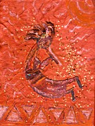 Icon  Mixed Media - Kokopelli Bright by Anne-Elizabeth Whiteway