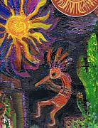 Icon Mixed Media Originals - Kokopelli Caliente by Anne-Elizabeth Whiteway