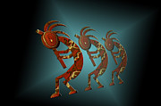Agriculture Digital Art Metal Prints - Kokopelli Metal Print by Carol and Mike Werner