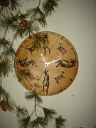 Southwest Pyrography - Kokopelli Clock by Dakota Sage