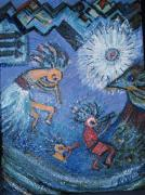 Kokopelli Dancers And Big Bird Print by Anne-Elizabeth Whiteway