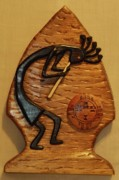Intarsia Sculpture Framed Prints - Kokopelli in Arrowhead Framed Print by Russell Ellingsworth