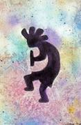 Southwest Indians Paintings - Kokopelli - Left by Jamie Frier