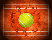 Tennis Digital Art Framed Prints - Kokopelli Tennis Clay Framed Print by Chris Rhynas