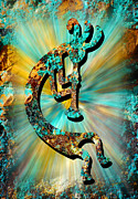 Hopi Prints - Kokopelli Turquoise and Gold Print by Vicki Pelham