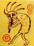Santa Fe Framed Prints - Kokopelli Watches Framed Print by Carol Suzanne Niebuhr