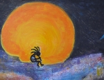 Anne-elizabeth Whiteway Prints - Kokopelli With Marmalade Moon Print by Anne-Elizabeth Whiteway