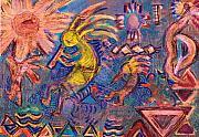 Kokopellis Gone Crazy In The Noonday Sun Print by Anne-Elizabeth Whiteway