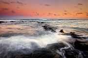 Rocks Photo Posters - Koloa Dusk Poster by Mike  Dawson