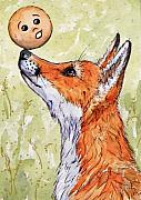 Ginger Drawings Posters - Kolobok and the Fox Poster by Svetlana Ledneva-Schukina