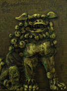 Yellow  Reliefs Posters - Komainu Guardian Poster by Erik Pearson