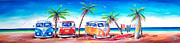 Surf Painting Metal Prints - Kombi Club Metal Print by Deb Broughton