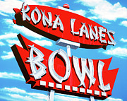 Signage Paintings - Kona Lanes Bowl by Anthony Ross