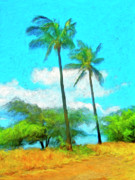 Mauna Kea Painting Prints - Kona Palms Print by Dominic Piperata