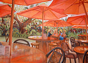 Outdoor Cafe Paintings - Kona Red by Patricia Young