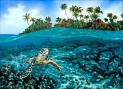 Ocean Turtle Paintings - Kona Village Local by Jennifer Belote