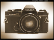 Sepia Tone Framed Prints - Konica TC 35mm Camera Framed Print by Mike McGlothlen