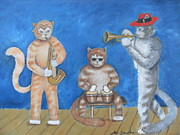 Playing Painting Originals - Kool Cat Trio by Joe Sanders