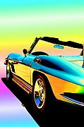 Race Car Posters - Kool Corvette Poster by Lynn Andrews