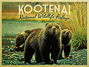 Refuge Digital Art Prints - Kootenai Wildlife Refuge Bears Print by Vintage Poster Designs